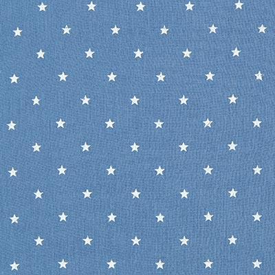 Baby-mousseline witte sterren 2 – jeansblauw