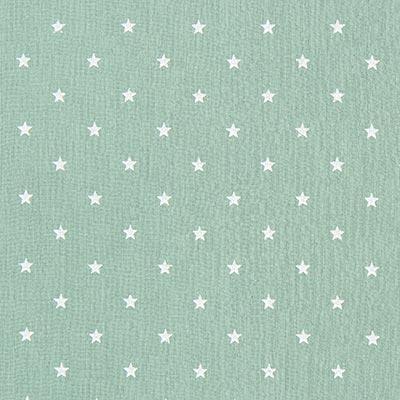 Baby-mousseline witte sterren 7 – zachtgroen