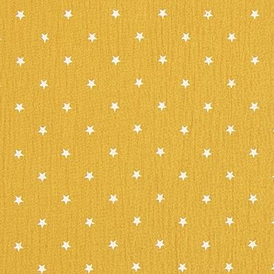 Baby-mousseline witte sterren 8 – mosterd