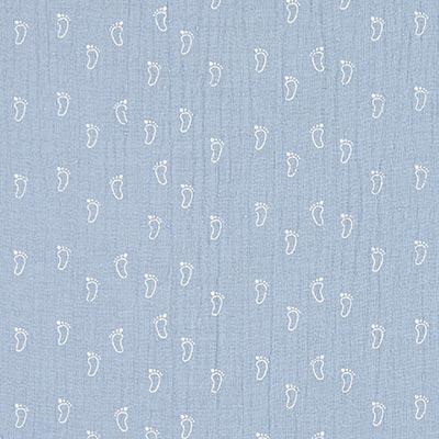 Dubbel crincelweefsel / mousseline Babyvoet 1 – babyblauw