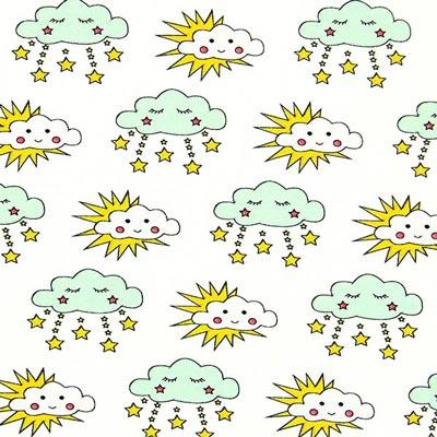 Tela de jersey Nubes – verde menta