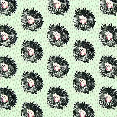 Scribble Hedgehog Poplin – peppermint