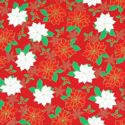 Baumwollstoff Adventsblume 1 - signalrot