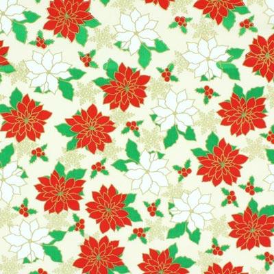 Baumwollstoff Adventsblume 2 - wollweiss