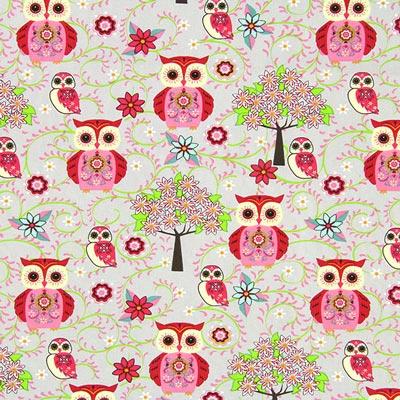 Cretonne uil Juliane 1 – roze