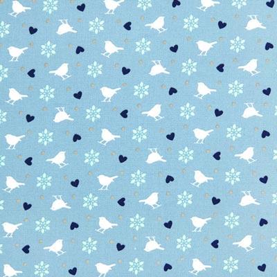 Cretonne vogeltjes CuiCui 2 – duifblauw