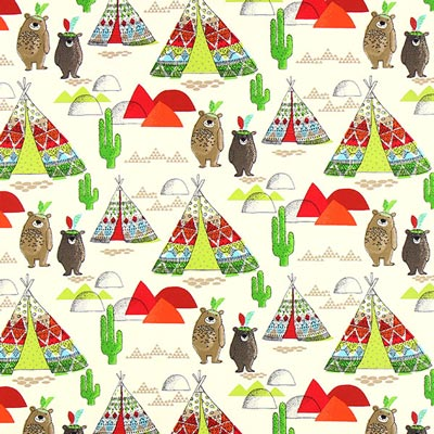 Teepee and Bears Cretonne 1 – red