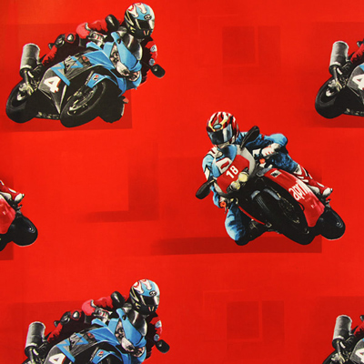 Cretonne Kindergordijnstof Motorfiets – rood
