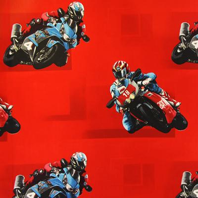 Cretonne Children's Curtain Fabric Motorbike – red