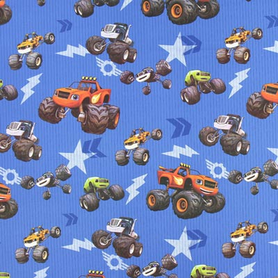Cretonne Monster Cars – blauw