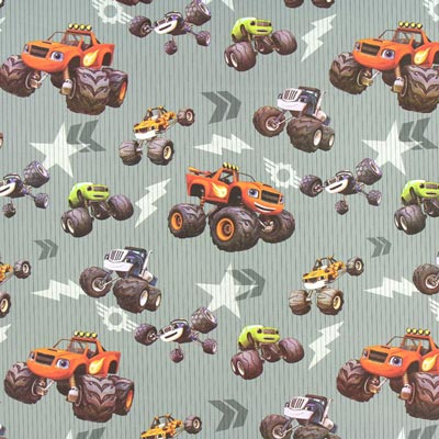 Cretonne Monster Cars – grijs