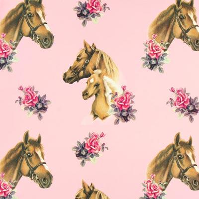 Cretonne Ponyhof – roze