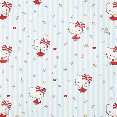 Katoenen stof Hello Kitty – blauw/wit