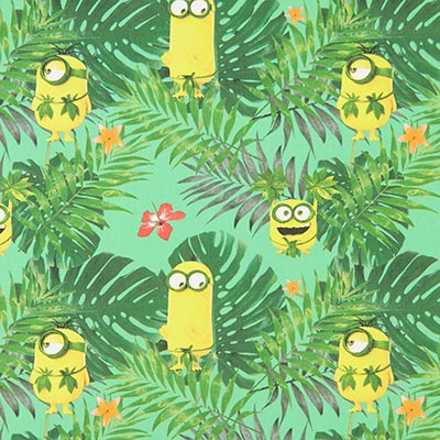 Katoenen stof Minions jungle 1 – groen