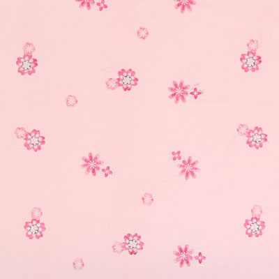 Embroidered Flowers Decor Fabric – pink