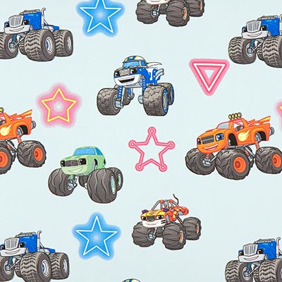 Katoenen stof Monstertruck – blauw