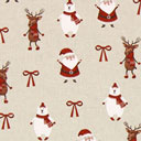 Cretonne Babbo Natale tessuto di tela – beige