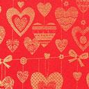 Tessuto natalizio Cuori dorati – rosso