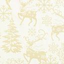 Tessuto natalizio Renne dorate – bianco lana