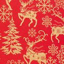 Tessuto natalizio Renne dorate – rosso