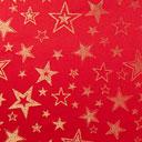 Tessuto natalizio Stelle dorate – rosso