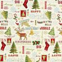 Tessuto natalizio Babbo natale – beige chiaro