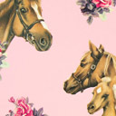 Cretona Granja de ponis – rosa