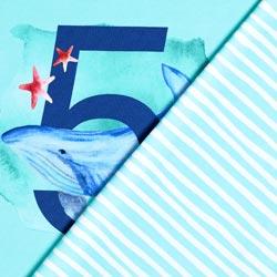 d087680a240 Cotton Jersey Birthday Panel 5th Birthday – aqua blue