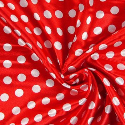Satin Stoff gepunktet rot weiß