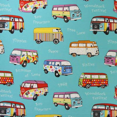 Canvas Stoff VW-Busse Muster bunt