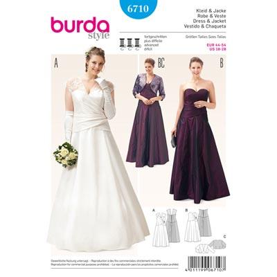 Plus Size Wedding Dress Bolero Burda 6710 Burda Sewing Patterns Plus S