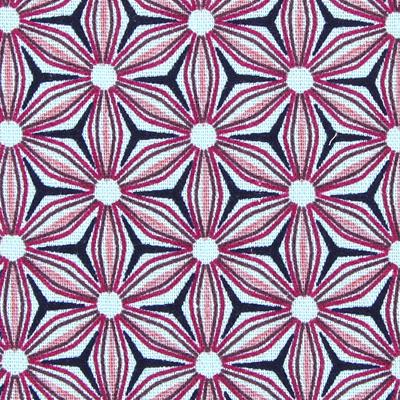 Leinen Muster Blumen pink lila