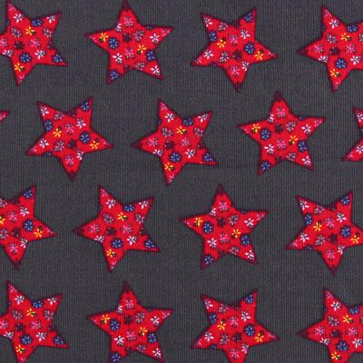 Cord Stoff Blumen Sterne Muster