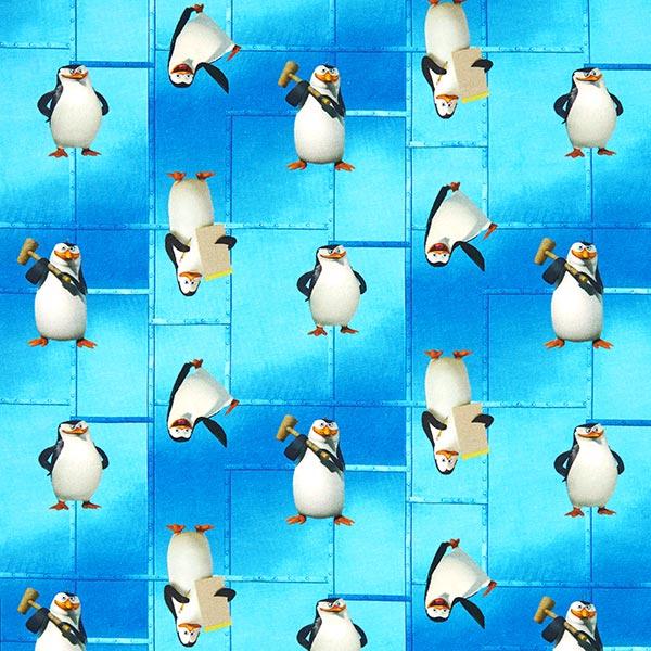 Türkisfarbener Baumwolljersey 'Die Pinguine aus Madagascar'