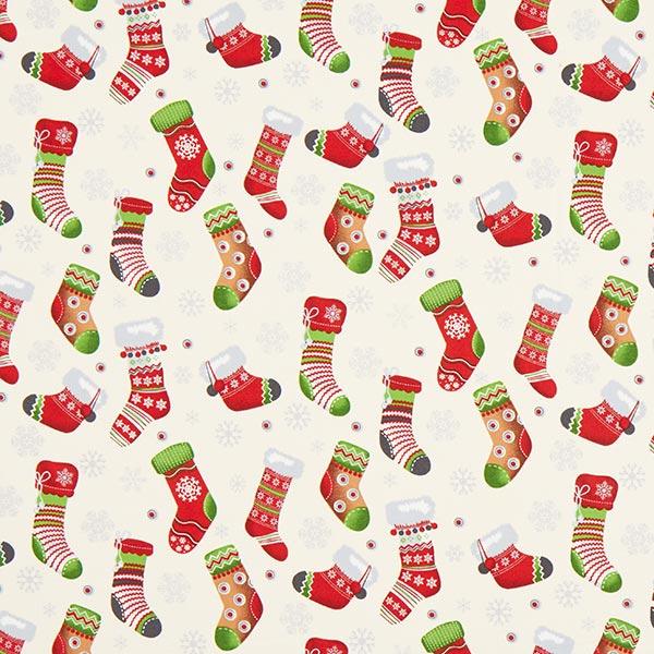 Baumwollstoff Weihnachtsstrumpf – wollweiss – Muster