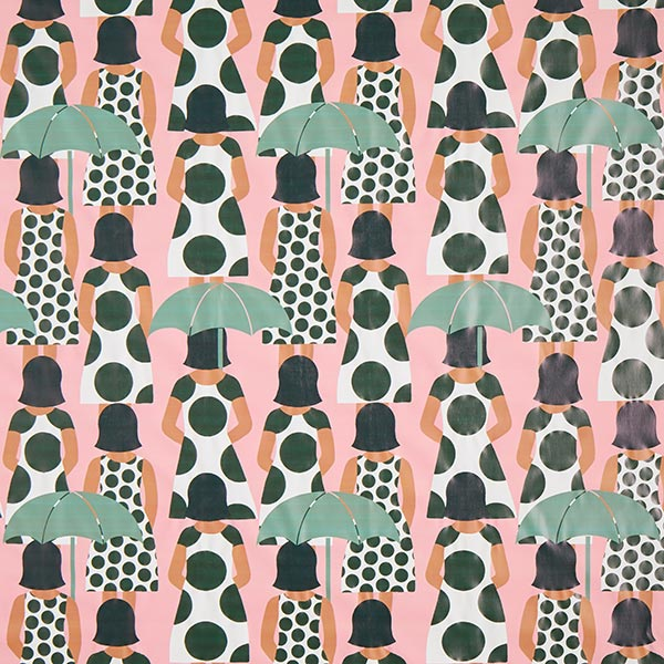 Lady Singing In The Rain Raincoat Fabric Pink Sample