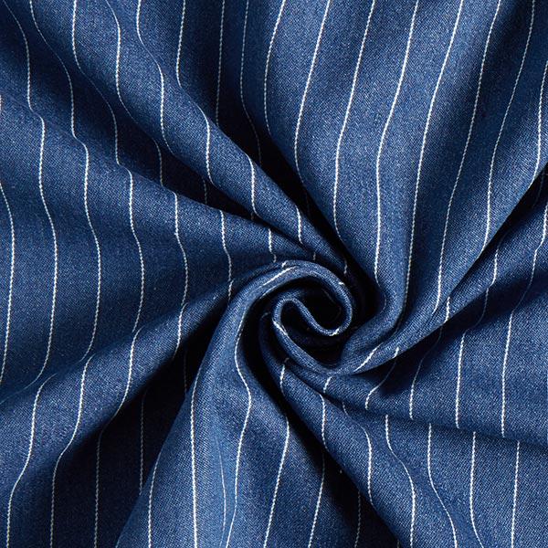 Blauer leichter Stretchjeansstoff mit weißen Streifen