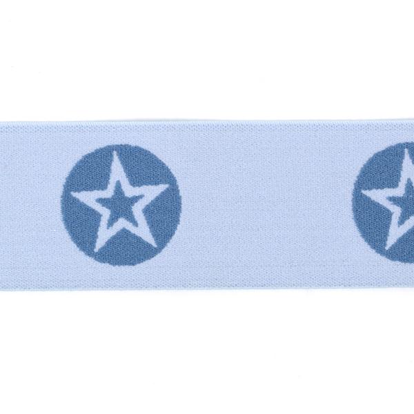 Elastisches Gurtband Sterne - hellblau