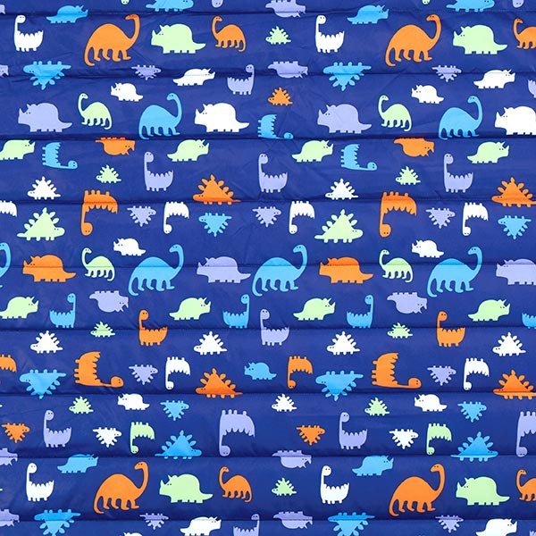 Blauer Steppstoff mit Dinosauriern