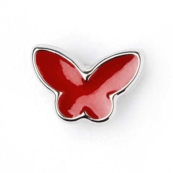Roter Kunststoffknopf in Schmetterlingsform