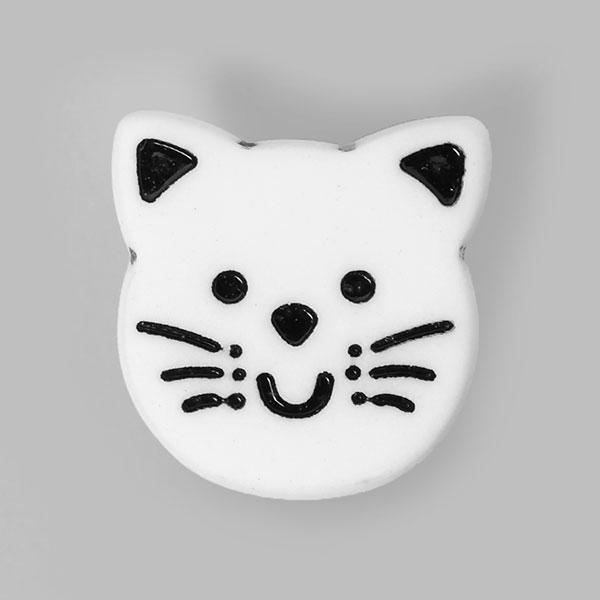Kunststoffknopf Katze – schwarz/weiss