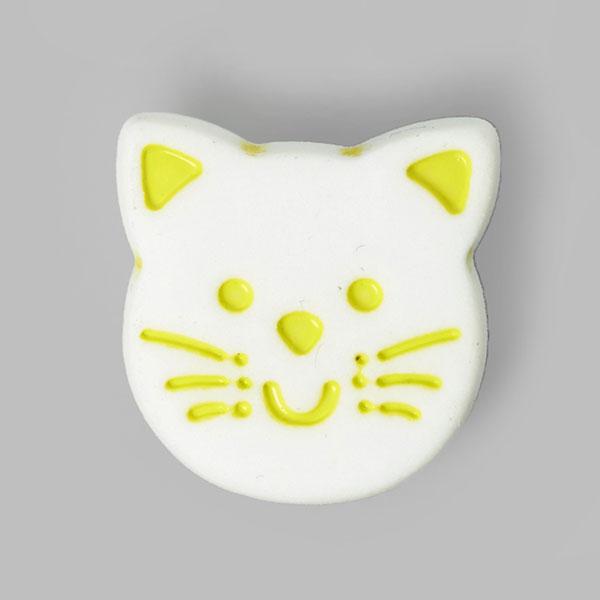 Kunststoffknopf Katze – gelb/weiss