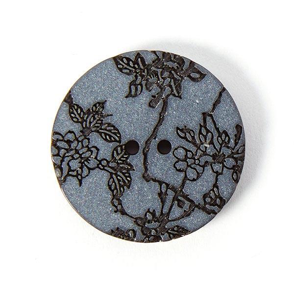 Kunststoffknopf Blumen – dunkelgrau