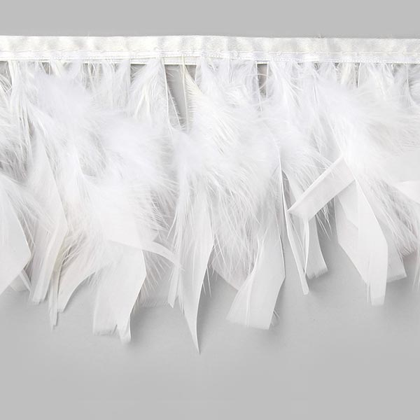 Feather Trim Couture White