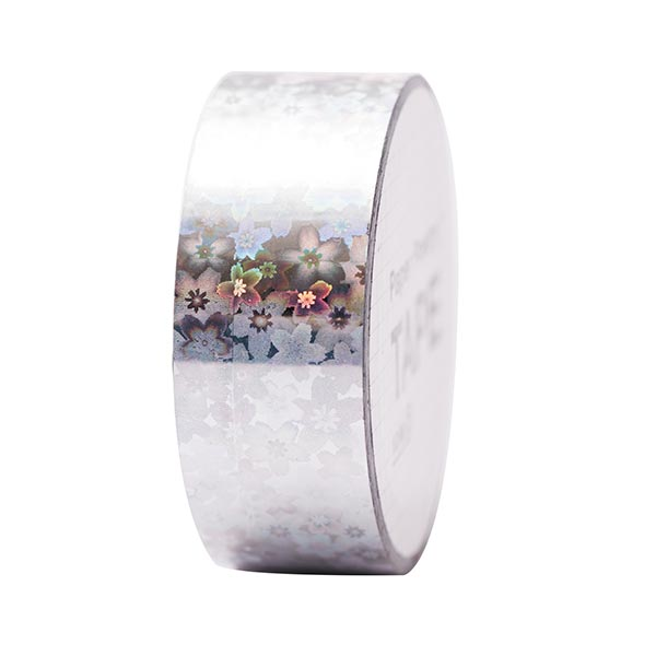 Holographic Tape Blumen 4 | RICO DESIGN - silber