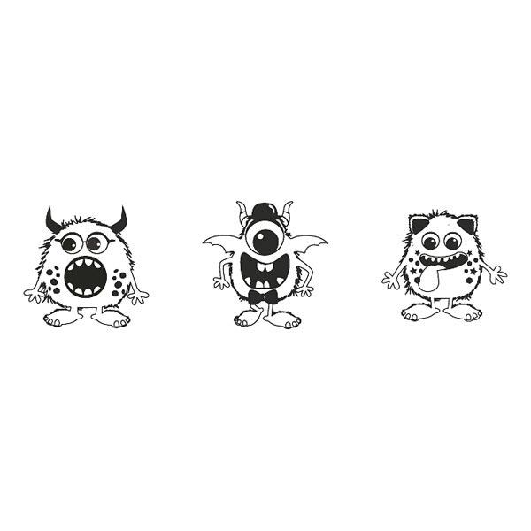 Stempelset Monster, 3 Stück