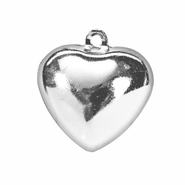 Herzchenanhänger als Metallglöckchen im 5er-Pack