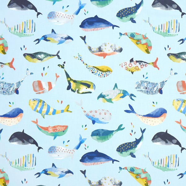 panama whale watching 2 babyblau maritime dekostoffe. Black Bedroom Furniture Sets. Home Design Ideas