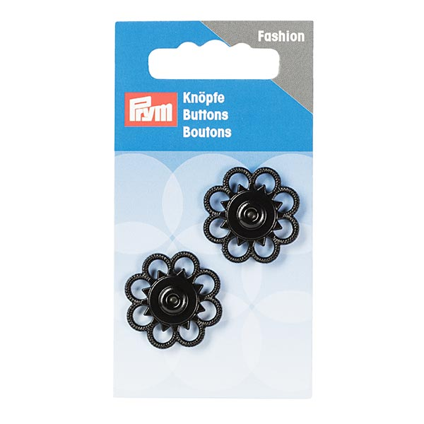 Zwei schwarze Blumendruckknöpfe