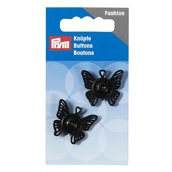 Zwei schwarze Druckknöpfe 'Schmetterling'